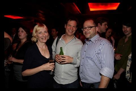 BBC Films MD Jane Wright with Met Film's Jonny Persey and producer Marc Samuelson